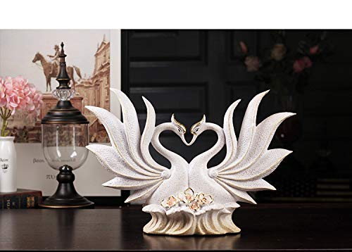 Tyannan Creative Sculptures,Home Decoration Vintage Sculptures Animal Modeling Creative European Couple Yellow Swan Art Deco Crafts for The Living Room Bookcase Decoration Creative Desktop Statues