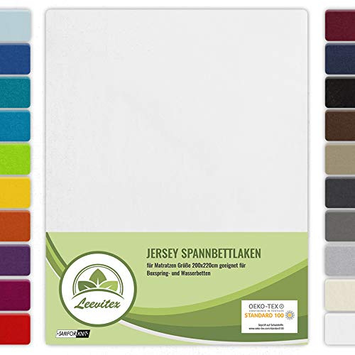 leevitex Farbenfrohes Spannbettlaken für WASSERBETTEN & BOXSPRINGBETT Spannbetttuch Jersey 200 x 220cm, 40cm Steghöhe 100% Baumwolle ca. 160 g/m² (Weiß)