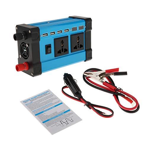 IPOTCH Inversor de Potencia 300W inversor del Coche DC 12V a 220V AC convertidor con Pantalla LED de 4 USB Adaptador de Coche Cargador para Vacaciones - 12V-110V
