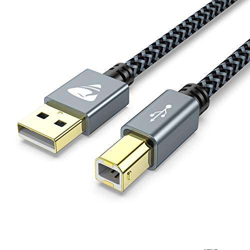 Aioneus Cavo Stampante USB 2.0, Cavo USB Tipo A Maschio a Tipo B Maschio Cavetto Placcato Oro per Stampante HP, Canon, Lexmark, dell, Xerox, Samsung, Panasonic, Scanner, ECC(3M)…
