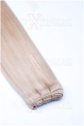 Weft Extensions Echthaar Tresse GlamXtensions glatt 100% Remy indisches Echthaar Human Hair - 60cm in der Farbe #60 Weißblond - Haarverlängerung Haarverdichtung zum Einnähen