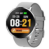 Yumanluo Smartwatch,Monitorización de frecuencia cardíaca/presión Arterial/sueño, Pulsera Deportiva-Gris,Reloj Inteligente con Pulsómetro