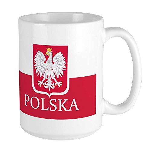 XCNGG Taza de café polaca con la bandera de Polska, grande, 15 oz. Taza de café con leche