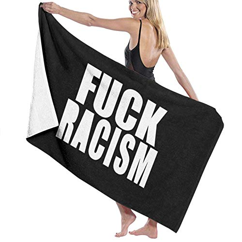 URANDM Fuck Racism Microfiber Beach Towel (52 X 32) -Highly Absorbent, Quick Dry Lightweight Towels Blanket for Sports Travel Pool Swimming Beach Gym Bath