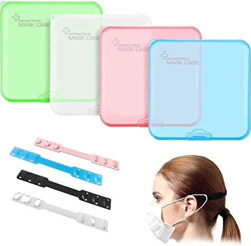 Tragbare Masken-Aufbewahrungstasche, 4 Stücke Staubmasken-Aufbewahrungsbox zur Vermeidung von Maskenverschmutzung tragbare Maskentasche Aufbewahrungskoffer mit 4 Stück Gehörschutzkappen
