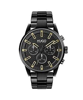 HUGO by Hugo Boss Men s #Seek Stainless Steel Quartz Watch with Black Ion Plated Strap 22  Model  1530177