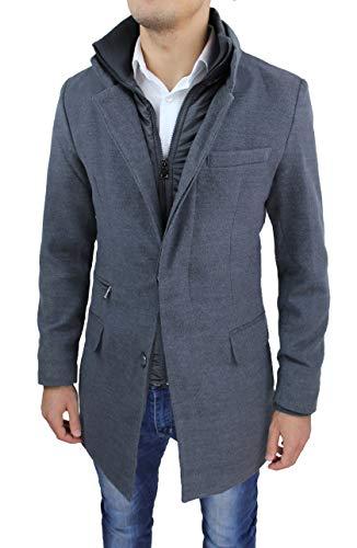 Cappotto Uomo Sartoriale Grigio Slim Fit Giacca Soprabito Invernale Lana Casual Elegante con Gilet (XL)