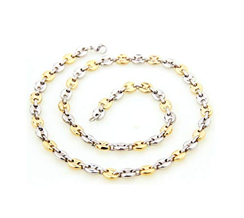 Aeici Collares Hombre Acero Cadena Oval Collar para Hombres Plata Oro Largo 55 Cm