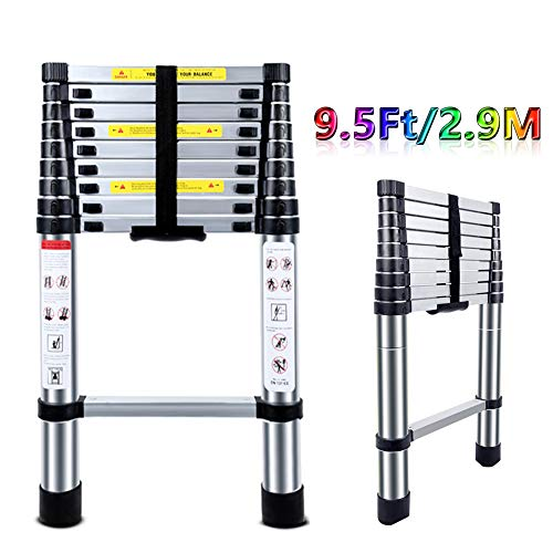 Telescoping Ladder 9.5FT - ARCHOM Portable Aluminum Telescopic Ladder Multi-Purpose Folding Extension Ladder for Roof Indoor and Outdoor with EN131 Certified