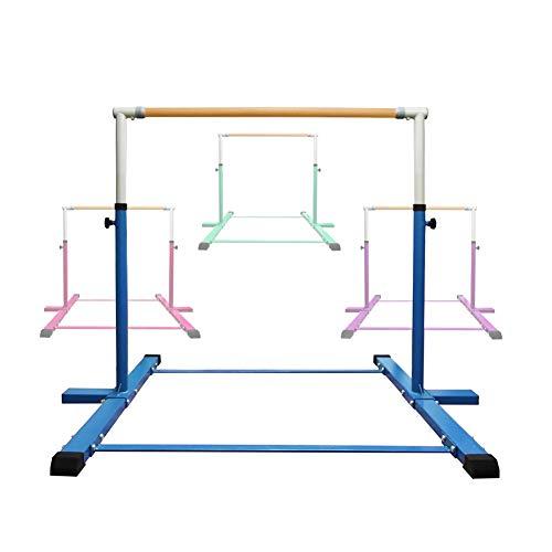 Shinea Expandable Gymnastics Kip Bar,3' to 5' Adjustable Height,Gymnasts 1-4 Levels,260 lbs Weight Capacity,No Wobble Gymnastic Equipment for Home Training,Horizontal Bar for Kids Girls (Blue)