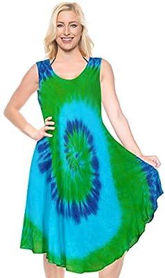 LA LEELA Women's Casual Swing T-Shirt Dresses Beach Cover up US 4-14W Blue_I555