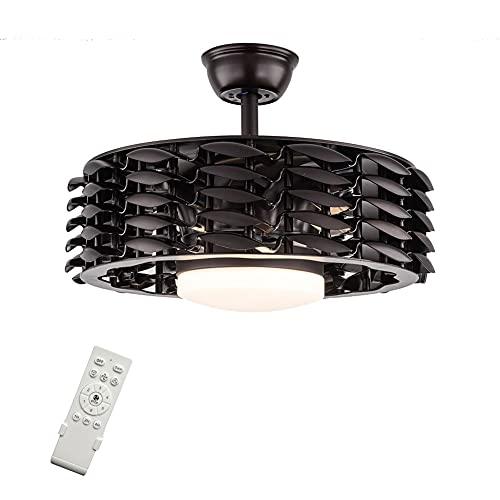 Ventilador de techo con iluminación y mando a distancia, LED, regulable, lámpara de techo invisible, ultra silencioso, velocidad ajustable (negro)