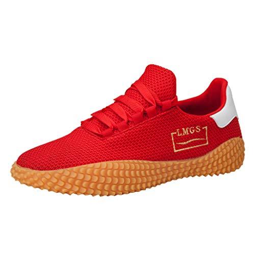 AIni Herren Schuhe Beiläufiges 2019 Neuer Heißer Mode Sommer Atmungsaktive Wild Sneakers rutschfeste leichte Laufschuhe Freizeitschuhe Partyschuhe (40,Rot)