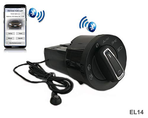 EL14 Auto Lichtsensor Bluetooth App Lichtschalter, KFZ Scheinwerferschalter Hauptlichtschalter Nebelscheinwerfer, Coming Leaving Home Modul – A4 B7 8H 8E RS4 S4, Seat Exeo (8E0941531C, 8H0941531)