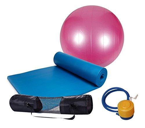 MIYOUDA Yoga Set di Spessore Antiscivolo Yoga Mat (10mm) + 1Yoga Esercizio Ball (65CM/75cm) + 1Pompa Aria + 1Borsa per Il Trasporto, Blue And Pink
