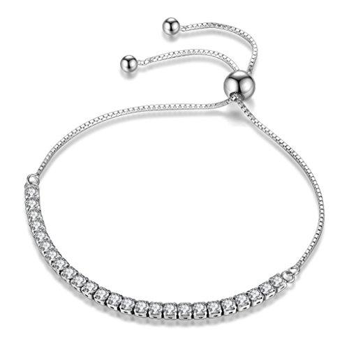 Likimar Adjustable Women Bracelets Round Cut Cubic Zirconia Slider Tennis Bracelet for Women Girls