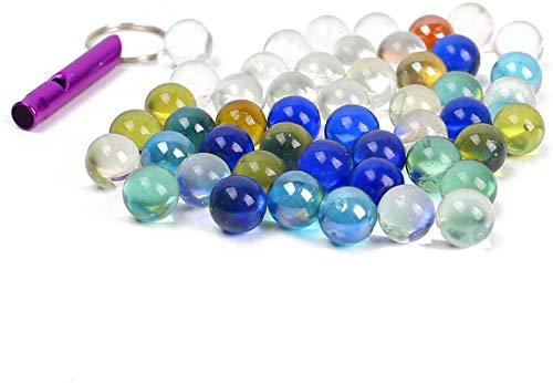 HAKACC Murmeln Glas, 50 STK. Muggelsteine bunt Kinder Deko Kugeln Spielzeug Durchsichtig Klare Glasmurmeln