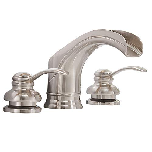 Homevacious Widespread Bathroom Faucet Brushed Nickel Waterfall 2 Handles 3 Holes 8-16 inches Satin Lavatory Vanity Basin Sink Restroom Commercial Supply Line Lead-Free