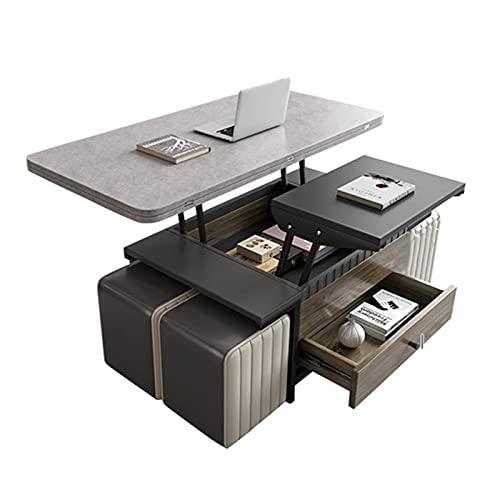 Mesa de Centro Multifuncional/de elevación del Escritorio de la computadora/Plegable Mesa de Comedor Grande Moderna Muebles de la Sala de Estar Creativa Mesa de Extremo del Lado con 4 PU Taburetes