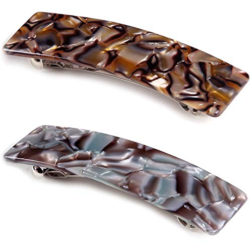 2 Stück Rechteckige Patentspange Groß Französische Haarspangen Damen Zelluloid Leopard Haar Spange Mittelgroß Haarclips Für Dickes Fein Langes Haar
