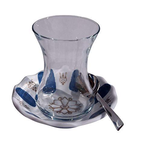 Orient-Feinkost 18 TLG. Türkisches Tee Set mit Melamin Blau Untertellern und Edelstahl Teelöffeln