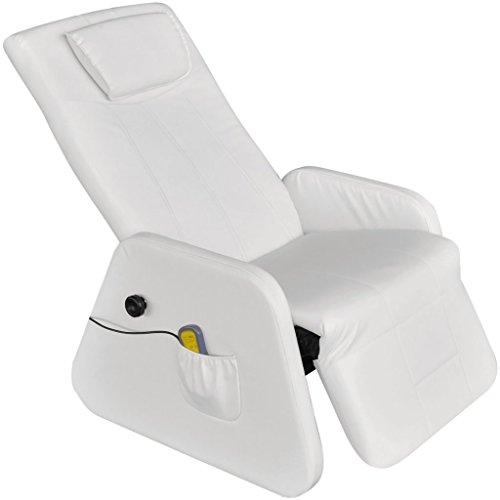 Festnight Elektrischer Zero Gravity Massagesessel Massage Liegesessel Relaxsessel aus Kunstleder Weiss