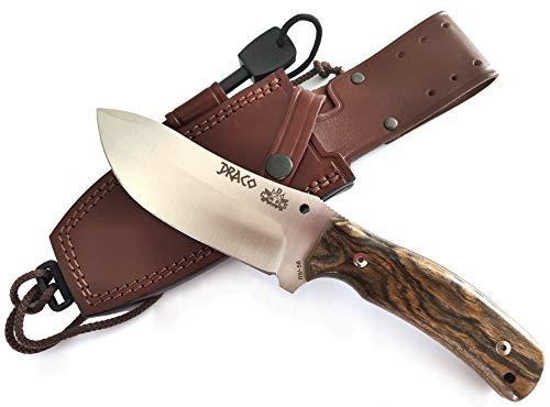 Draco - Outdoor Camping Gürtelmesser Jagdmesser Überlebensmesser Survival Bushcraft Messer, MOVA 58, Lederscheide und Feuerstahl