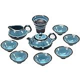 M-CH Tetera Juego de té Kungfu de Viaje Hecho a Mano, Vintage Chino, Porcelana (Estilo Azul - Juego de 9 Piezas)