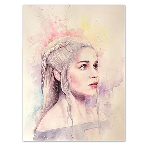 Wfmhra Power of Playful Art Poster Immagine della Decorazione della Parete della Madre del Drago Jon Snow Pittura Artistica 50x75cm Senza Cornice