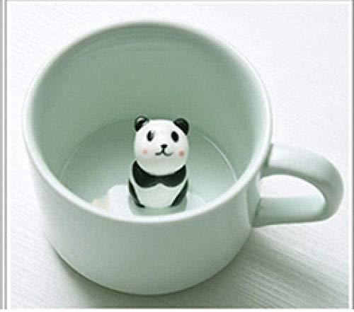 Taza de cerámica para café / té,Taza de celadón tridimensional resistente al calor de cerámica de cerámica de animales pequeños panda cat_Hippo_301-400Ml_Panda_301-400ml