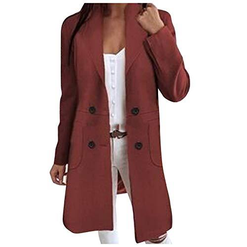 JUTOO Womens Winter Revers Button Lange Trenchcoat Jacke Damen Overcoat Outwear (rot,XXXL)