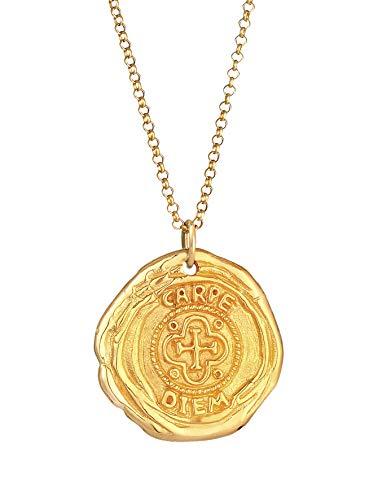 Kuzzoi Collar de plata para hombre con colgante de moneda redonda (25 mm), collar para hombre en plata de ley 925 chapada en oro, cadena dorada con moneda antigua, colgante vintage hecho a mano