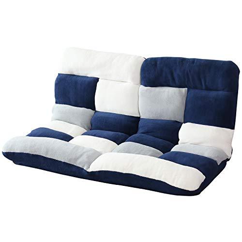 DORIS 座椅子 2人掛け ローソファ フロアソファ 左右独立リクライニング 奥行調整可能な2箇所の14段階ギア搭載 ふっくらサンゴマイヤー生地 パッチワークブルー ピオンセ