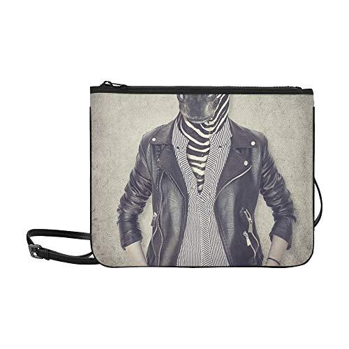 Lustige Tiere, die Kleidungs-Muster-Gewohnheits-hochwertige Nylon dünne Handtasche Umhängetasche Umhängetasche tragen