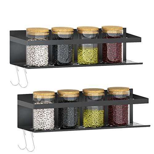 Magnetic Fridge Spice Rack | Strongly Magnetic Spice Shelf with Extra Hooks | Refrigerator Spice Storage | Kitchen Storage Rack for Placing Seasoning Bottles (2 Pack)