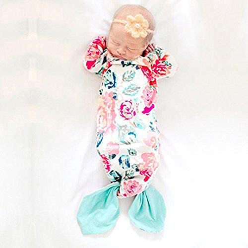Kids Tales Baby Sleepwear Wearable Blanket Floral Mermaid Tail Nightgowns Built-in Mittens Cotton Baby Pajamas,12-24 Months