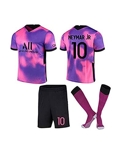 SHDBHD Paris Jersey 10#Neymar Bambino Adulto Maschio Calcio Maglia, T-Shirt Pantaloncini Calze,T-Shirt+ Pantaloncini, 20-21,Viola