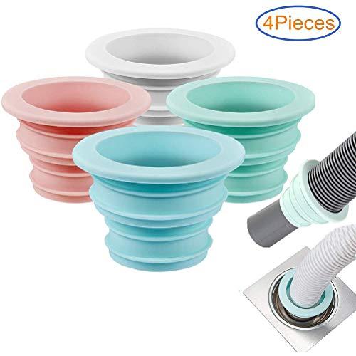 Macabolo - Juego de 4 juntas de silicona para lavadora, tubo de desagüe, junta, tubo solar, anillo de sellado para cuarto de baño, cocina, lavado