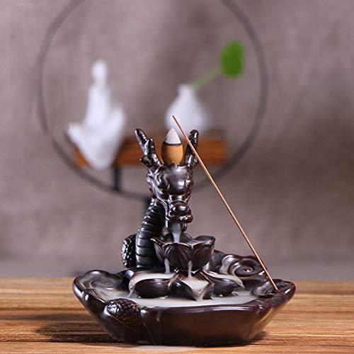 Incensario de cerámica Chino Big Dragon Backflow incensario Holder Quemador de Humo para Sala de Yoga decoración de la Oficina en casa Adorno
