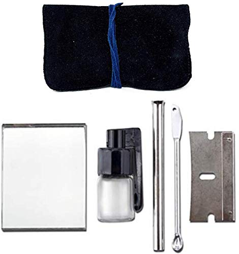 Complete 5-Piece Set Snuff Kit with Genuine Suede...