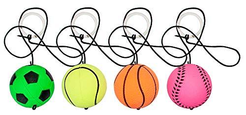 12 x Flummi am Band 4cm Sport Neckball Ball Fußball Basketball XL Kinder