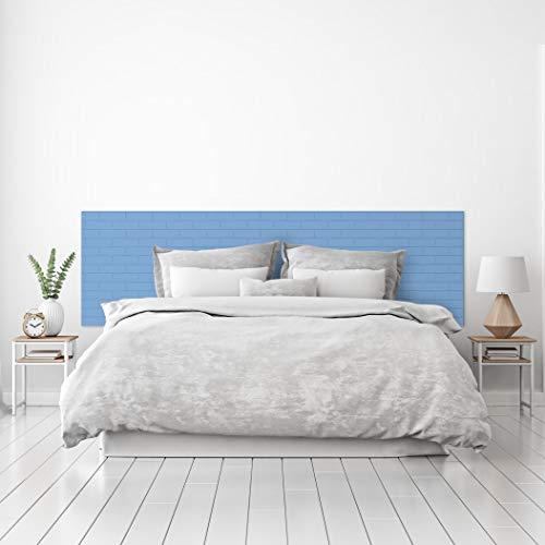MEGADECOR Cabecero Cama PVC Decorativo Económico Textura Ladrillo Azul Pastel Pintado Varias Medidas (150 cm x 60 cm)