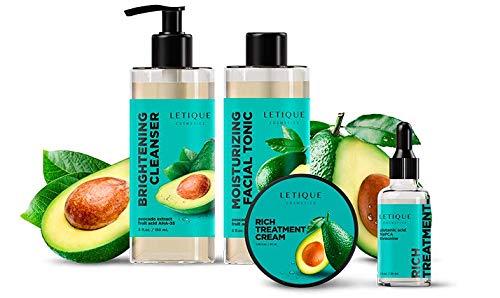 Letique Cosmetics Face Care Set with Avocado, 150 ml, 150 ml, 30 ml, 50 ml
