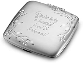 Things Remembered Personalized Silver Leaves and Vines Compact, Makeup Mirror with Engraving Included