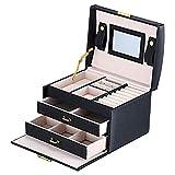 WILAIN De Caja de los 17 X 13,5 X 12 cm joyería Embalaje Display Box Armario con Pulsera de la Hebilla del Anillo Armario Caja de Almacenamiento y la Maleta (Color : Negro)