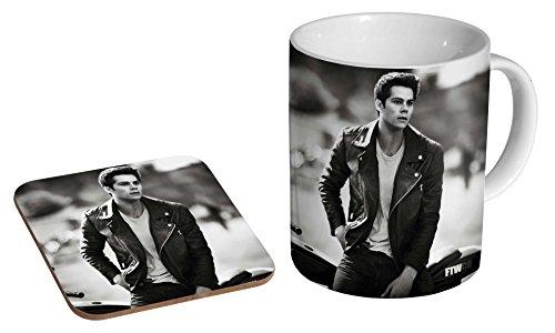 Dylan O'brien BW Keramik-Kaffeetasse + Untersetzer, Geschenk-Set