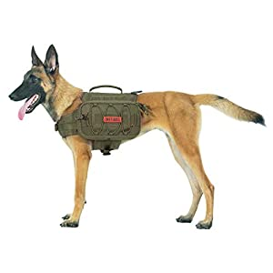 OneTigris Dog Backpack for Hiking Nylon Dog Harness Backpack with Side Pockets for Large Dog with 22″-31.5″ Neck Girth and 29″-35.8″ Chest Girth (Ranger Green, Large)