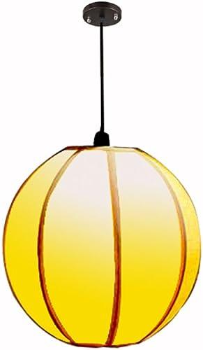 Antique LED lustres ronds, rétro PVC rouge jaune éclairage décoration plafonniers en fer Vintage salon couloir pendentif lumière lustre (Couleur   jaune-30cm30cm)