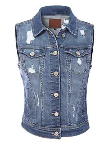 Design by Olivia Women's Classic Sleeveless Stone Wash Distressed Denim Vest Medium Denim M