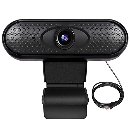 Webcam 1080P Full HD, Webcam per PC Video Camera Web con Microfono a Cancellazione del Rumore Pro Webcamn con Clip Regolabile per Videochiamata,Studi,Conferenze,Registrazione e Giochi,Lavoro a Casa